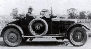 Mr Brown, who worked for the Water Board, in his 1922 Rover 8 hp