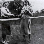 Dorothy Haywood and Gwen Humphies on the tennis court at Hillside House where Mrs Kemp ran a club for girls.