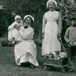 Mrs Moxham and Mrs Bird, children's nurses for the Samborne family at Timsbury House.
