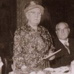 Kate Perrett presiding at the dinner of the Timsbury Male Voice Choir at Christmas 1960. Kate's grand-daughter Barbara is on her right and Teddy Carter of paulton on her left.