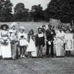 Timsbury carnival procession children's fancy dress in 1959. Picture taken on the Recreation Field.