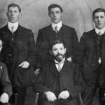 Male members of the Janes family. L-R back row Oliver Janes, Ernest Janes, Herbert Janes. L-R front row William Janes, Joseph Janes, George Janes.