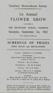 1st Timsbury Annual Flower Show 1962