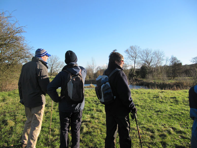 Here walkers are looking at Paulton Basin. This was the terminus of the former Somersetshire Coal Canal which ran in the valley below Timsbury to Bath