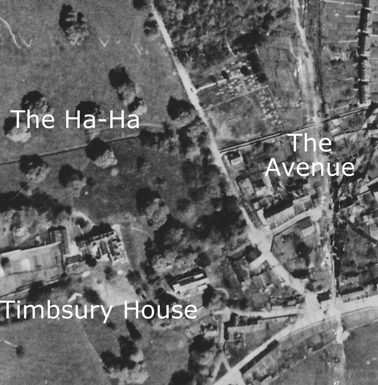 Aerial view from the 1940s showing the Ha-Ha going past Timsbury House